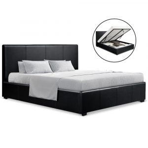 Artiss Queen Size PU Leather and Wood Bed Frame Headborad – Black