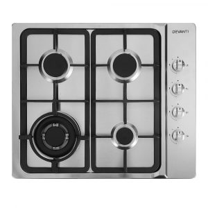 Devanti Gas Cooktop 60cm Kitchen Stove 4 Burner Cook Top NG LPG – Stainless Steel Silver