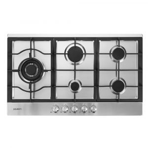 Devanti Gas Cooktop 90cm Kitchen Stove Cooker 5 Burner – Stainless Steel NG/LPG Silver