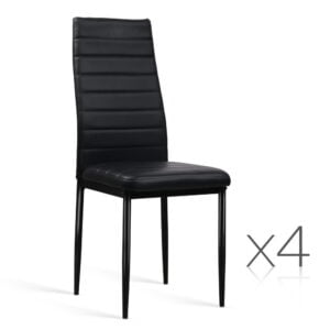 Artiss Set of 4 Dining Chairs PVC Leather – Black