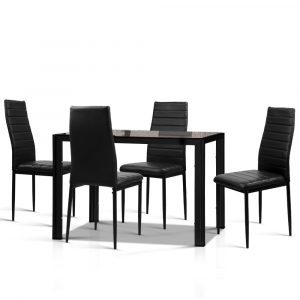 Artiss Astra 5-Piece Dining Table and Chairs Sets – Black