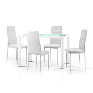 Artiss 5 Piece Dining Table Set – White