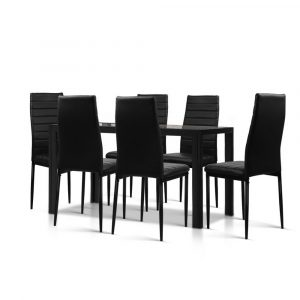 Artiss Astra 7-Piece Set Tempered Glass Dining Set Table and 6 Chairs – Black