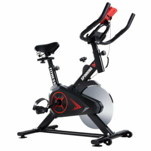 Spin Exercise Bike Flywheel Fitness Commercial Home Workout Gym Phone Holder – Black