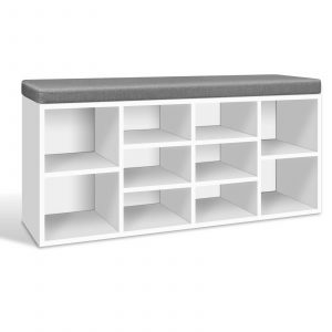 Artiss Fabric Shoe Bench with Storage Cubes – White
