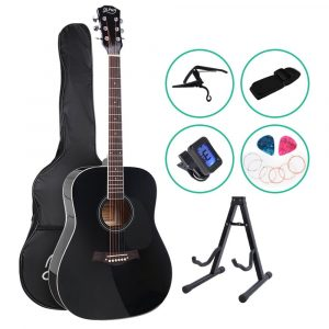 ALPHA 41 Inch Wooden Acoustic Guitar with Accessories set – Black