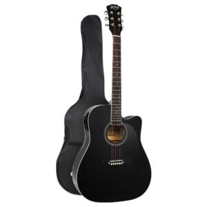 Alpha 41″ Inch Electric Acoustic Guitar Wooden Classical Full Size EQ Bass – Black