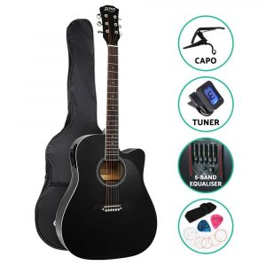 Alpha 41″ Inch Electric Acoustic Guitar Wooden Classical Full Size EQ Capo – Black