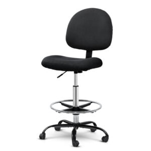 Artiss Office Chair Veer Drafting Stool Fabric Chairs – Black