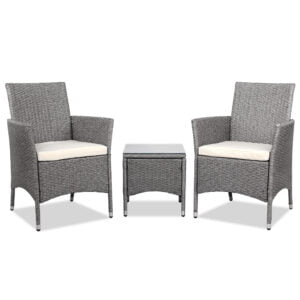 3 Piece Wicker Outdoor Chair Side Table Furniture Set – Grey