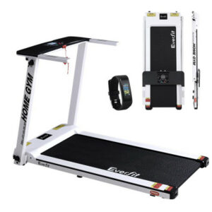 Everfit Electric Treadmill Home Gym Exercise Running Machine Fitness Equipment Compact Fully Foldable 420mm Belt – White
