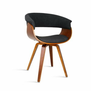Artiss Timber Wood and Fabric Dining Chair – Charcoal