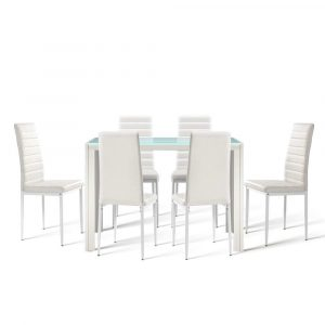 Artiss Astra 7-piece Dining Table and Chairs Dining Set Tempered Glass Leather Seater Metal Legs – White