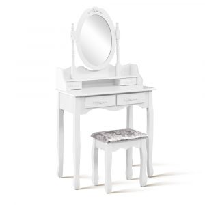 Artiss 4 Drawer Dressing Table with Mirror – White