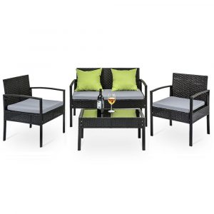 4 Seater Sofa Set Outdoor Furniture Lounge Setting Wicker Chairs Table Rattan Lounger Garden Cushions – Black