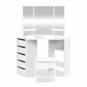Artiss Corner Dressing Table With Mirror Stool – White Mirrors Makeup Tables Chair