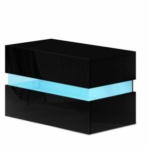 Artiss Bedside Table 2 Drawers RGB LED Side Nightstand High Gloss Cabinet – Black