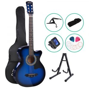 ALPHA 38 Inch Wooden Acoustic Guitar with Accessories set – Blue