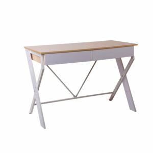 Artiss Metal Desk with Drawer – White with Oak Top