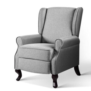 Artiss Recliner Chair Luxury Lounge Armchair Single Sofa Couch Fabric – Grey