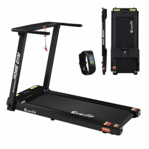 Everfit Electric Treadmill Home Gym Exercise Running Machine Fitness Equipment Compact Fully Foldable 420mm Belt – Black