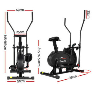 Everfit 4in1 Elliptical Cross Trainer Exercise Bike Bicycle Home Gym Fitness Machine Running Walking