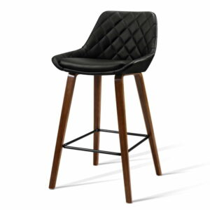 Artiss 2x Kitchen Bar Stools Wooden Stool Chairs Bentwood Barstool Leather – Black
