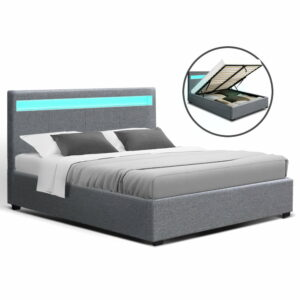 Artiss Bed Frame Double Full Size Gas Lift Base With Storage – Grey Fabric COLE