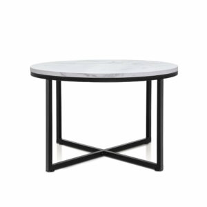 Artiss Coffee Table Marble Effect Side Tables Bedside Round – Black Metal 70X70CM