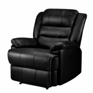 Artiss Recliner Chair Armchair Luxury Single Lounge Sofa Couch Leather – Black