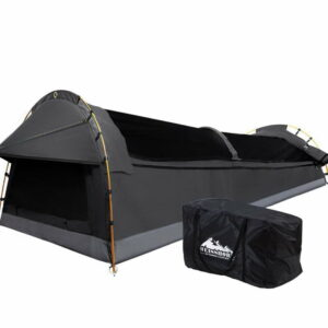 Weisshorn Double Swag Camping Swags Canvas Tent Deluxe Dark – Grey Large Bag