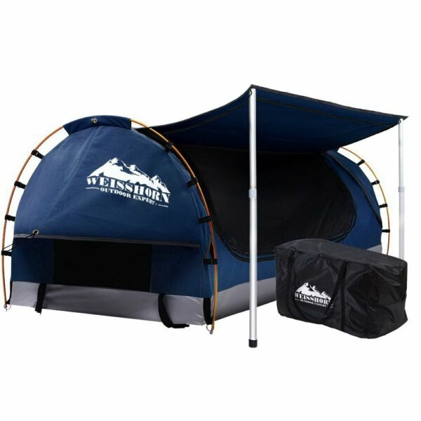 Weisshorn Double Swag Camping Swags Canvas Free Standing Dome Tent Dark – Blue with 7CM Mattress