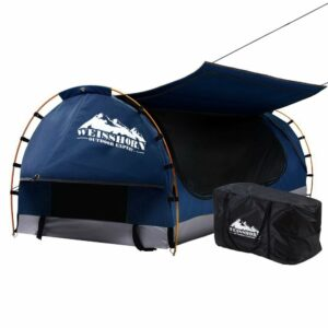 Weisshorn Swag King Single Camping Swags Canvas Free Standing Dome Tent Dark – Blue with 7CM Mattress