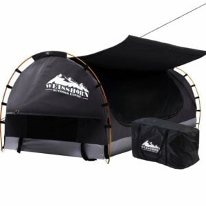 Weisshorn Swag King Single Camping Swags Canvas Free Standing Dome Tent Dark – Grey with 7CM Mattress
