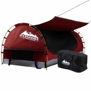 Weisshorn Swag King Single Camping Swags Canvas Free Standing Dome Tent – Red with 7CM Mattress