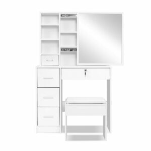 Artiss Dressing Table Stool Mirror Jewellery Cabinet Makeup Storage Drawer – White