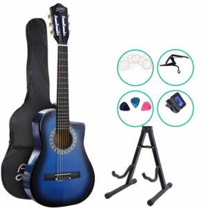 Alpha 34″ Inch Guitar Classical Acoustic Cutaway Wooden Ideal Kids Gift Children 1/2 Size – Blue with Capo Tuner