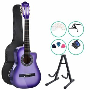 Alpha 34″ Inch Guitar Classical Acoustic Cutaway Wooden Ideal Kids Gift Children 1/2 Size Purple with Capo Tuner