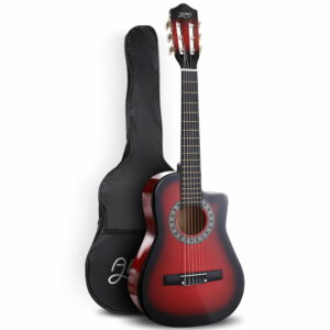 Alpha 34″ Inch Guitar Classical Acoustic Cutaway Wooden Ideal Kids Gift Children 1/2 Size – Red