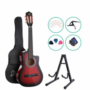 Alpha 34″ Inch Guitar Classical Acoustic Cutaway Wooden Ideal Kids Gift Children 1/2 Size – Red with Capo Tuner