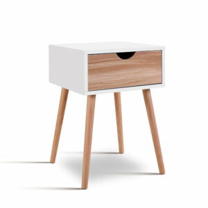 Artiss Bedside Tables Drawers Side Table Storage Cabinet Nightstand Solid Wood Legs Bedroom – White