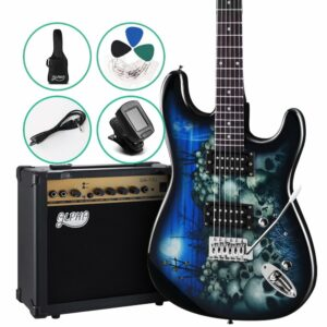 Alpha Electric Guitar And AMP Music String Instrument Rock – Blue Carry Bag Steel String