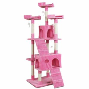 i.Pet Cat Tree 180cm Trees Scratching Post Scratcher Tower Condo House Furniture Wood – Pink