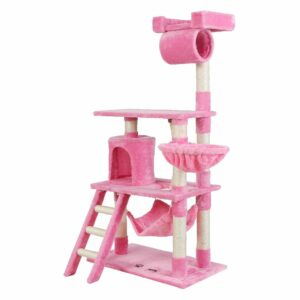 i.Pet Cat Tree 141cm Trees Scratching Post Scratcher Tower Condo House Furniture Wood – Pink