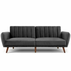 Artiss Sofa Bed Lounge 3 Seater Futon Couch Recline Chair Wooden 207cm Velvet – Grey