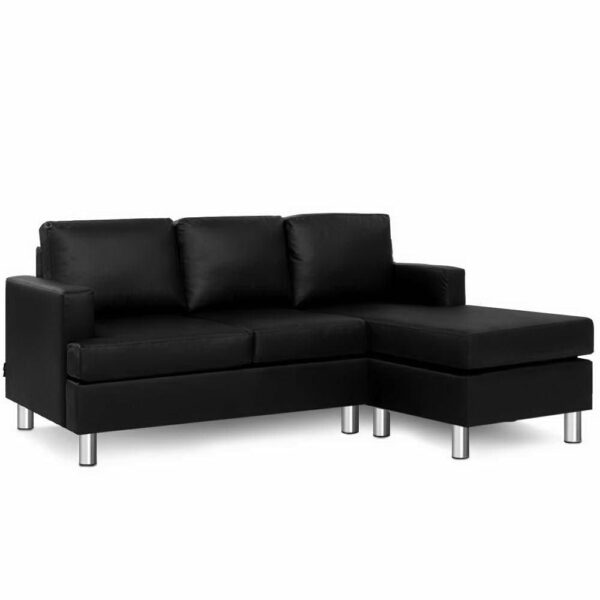 Artiss Sofa Lounge Set Couch Futon Corner Chaise Leather 3 Seater Suite – Black