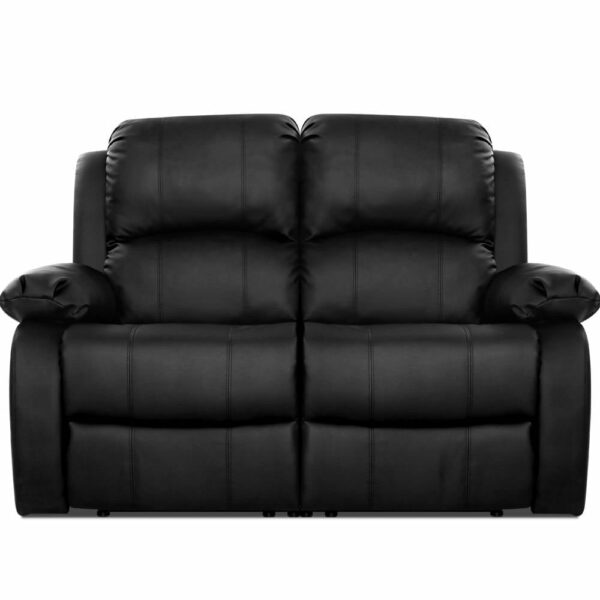 Artiss Recliner Chair 2-Seater Premium Leather Double Lounge Sofa Couch – Black