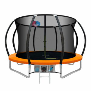 Everfit 10FT Trampoline Round Trampolines With Basketball Hoop Kids Present Gift Enclosure Safety Net Pad Outdoor Orange