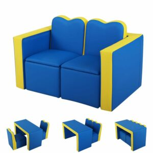 Keezi Kids Sofa Armchair Children Table Chair Couch PU Padded – Blue Storage Space