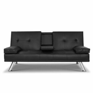 Artiss Sofa Bed Lounge Futon Couch 3 Seater Leather Cup Holder Recliner
